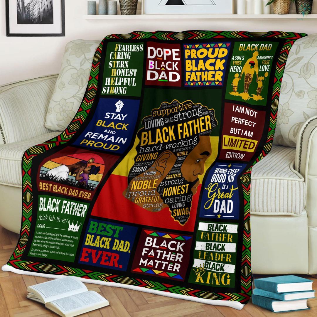 Black Father Hard-Working Sherpa Fleece Blanket %tag familyloves.com