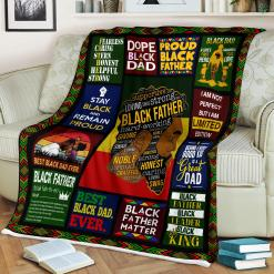 Black Father Hard-Working Sherpa Fleece Blanket %tag familyloves.com