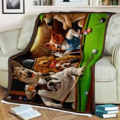 Dogs Playing Pool Sherpa Fleece Blanket %tag familyloves.com