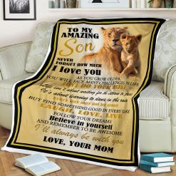 Lion To My Amazing Son Never Forget How Much I Love You Sherpa Love Mom Fleece Blanket %tag familyloves.com