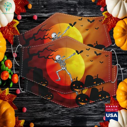 Dabbing Skeleton Kids Adult Dab Boys Funny Halloween Halloween Of Horror Cloth Face Mask Gift %tag familyloves.com