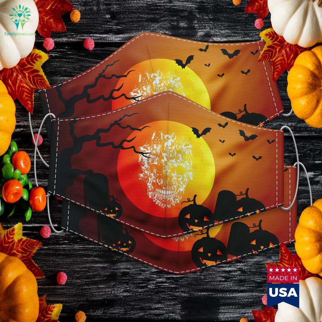 Doberman Dog Skull Best Halloween Costume Halloween Around The Corner Cloth Face Mask Gift %tag familyloves.com