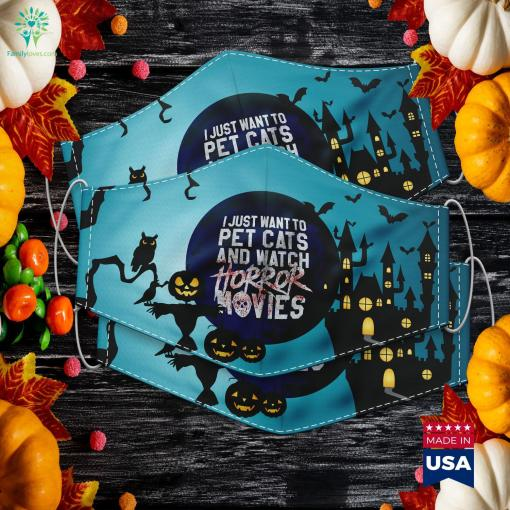 Funny Horror Movie Fan Halloween Cat Lover Gift Spirit Halloween Next To Me Cloth Face Mask Gift %tag familyloves.com