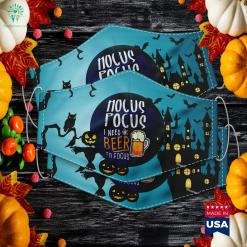 Hocus Pocus I Need Beer To Focus Halloween Witch Halloween Lights Cloth Face Mask Gift %tag familyloves.com