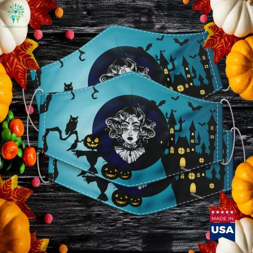 Horned Devil Girl Satanic Halloween Glitch Goth Tee Halloween On Saturday Cloth Face Mask Gift %tag familyloves.com