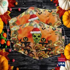 Skeleton Skull Santa Hat Halloween Christmas Mashup Idea Halloween Songs Cloth Face Mask Gift %tag familyloves.com