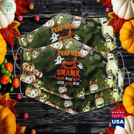 Teacher Shark Boo Boo Boo Shark Teacher Halloween Scriptures Against Halloween Cloth Face Mask Gift %tag familyloves.com