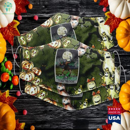 The Moon Tarot Card Halloween Werewolf Gothic Witch Clothing Is Halloween Against Catholic Religion Cloth Face Mask Gift %tag familyloves.com