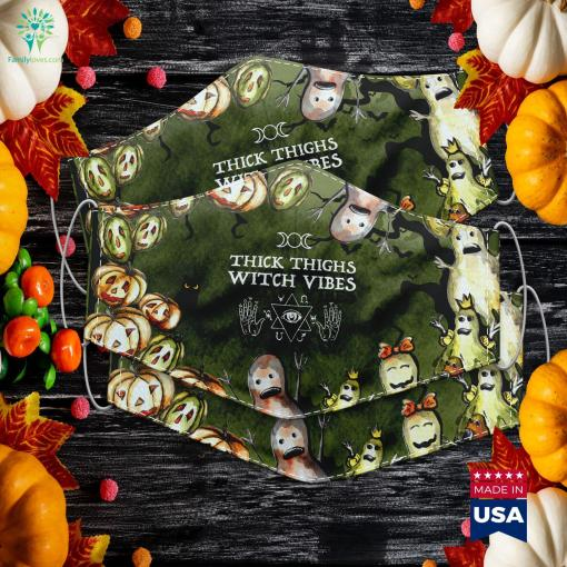 Thick Thighs Witch Vibes Funny Witches Halloween Costume Halloween Vinyl Cloth Face Mask Gift %tag familyloves.com