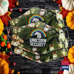Unicorn Security Funny Rainbow Cute Halloween Costume Gift Countdown Till Halloween Cloth Face Mask Gift %tag familyloves.com