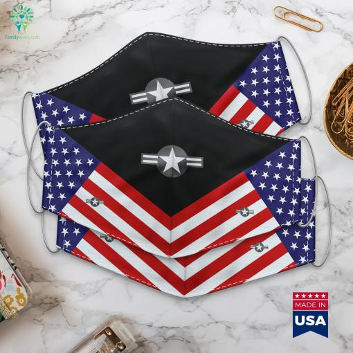 United States Air Force Roundel Low Vis Military Pay Scale Cloth Face Mask Gift %tag familyloves.com