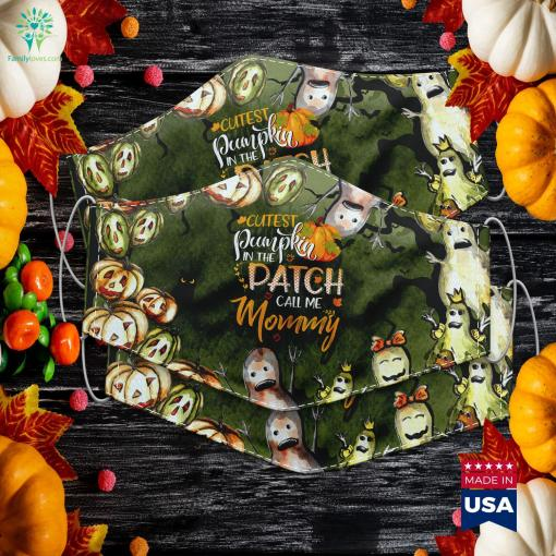 Womens Cutest Pumpkin In The Patch Call Me Mommy Halloween Gift Halloween Emojis Cloth Face Mask Gift %tag familyloves.com