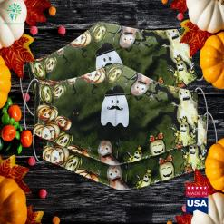 Womens French Teacher Halloween Bonjour Ghost Halloween Cloth Face Mask Gift %tag familyloves.com