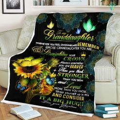 To My Granddaughter Whenever You Feel Overwhelmed Remember Love Your Grandma Sherpa Fleece Blanket %tag familyloves.com