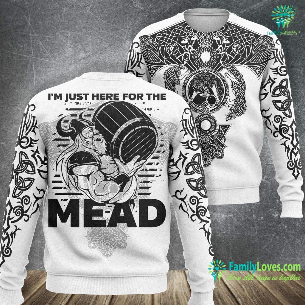 Husqvarna Viking Funny Viking I M Just Here For The Mead Viking Sweatshirt All Over Print Familyloves.com