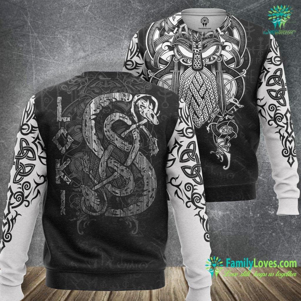 Local Viking Loki S Symbol The Serpen Vikings Gods Myth Viking Tee Viking Sweatshirt All Over Print Familyloves.com