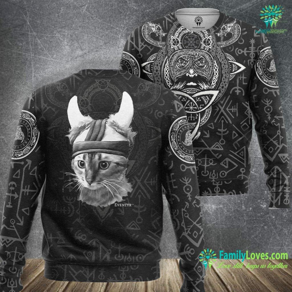 Mythology Symbols Eventyr Original Viking Cat Norwegian Gift Viking Sweatshirt All Over Print Familyloves.com