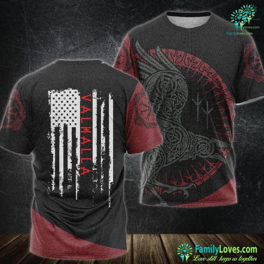 Norse Patterns Valhalla American Flag Viking Ages Warrior Viking Unisex Tshirt All Over Print Familyloves.com