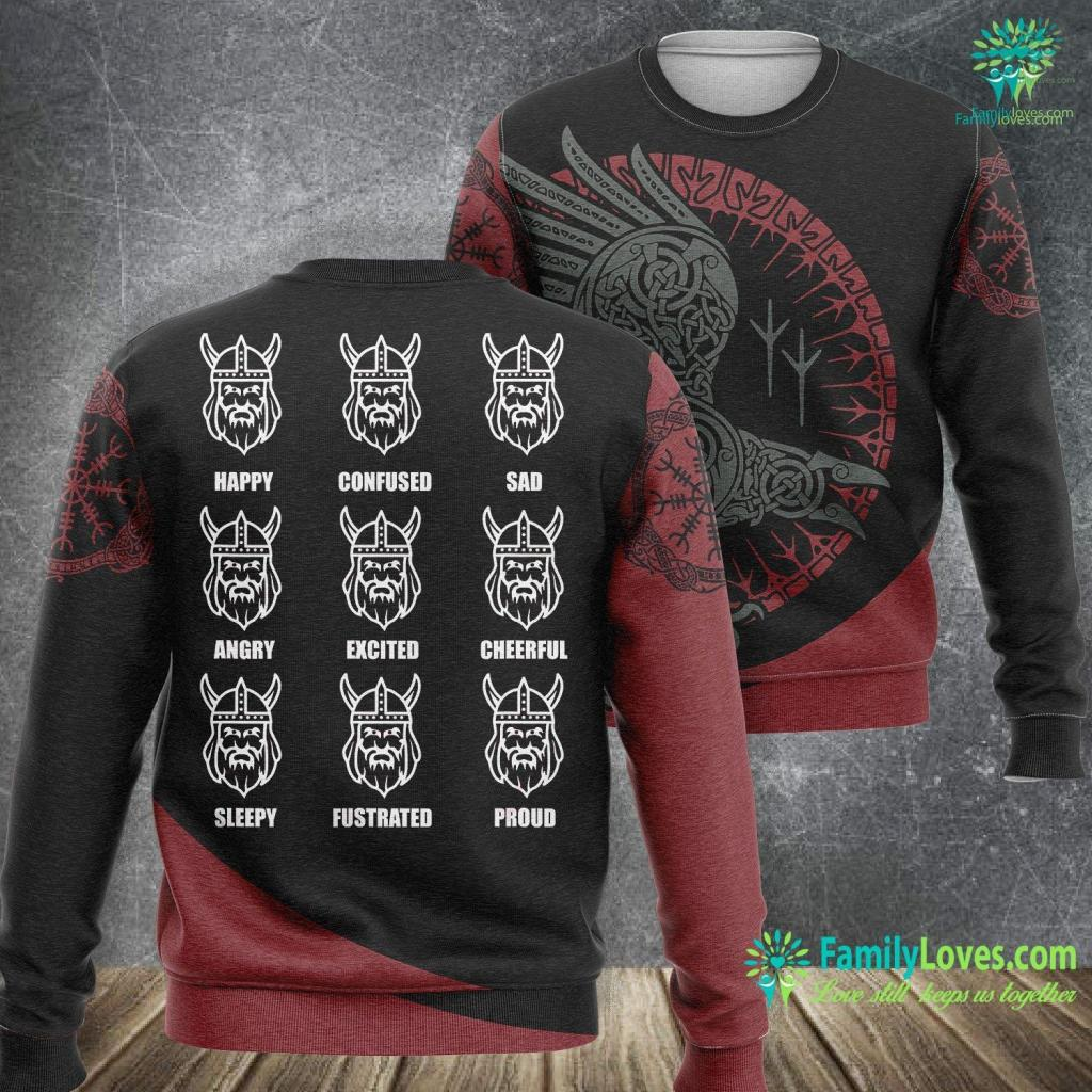 Ragnarok Norse Mythology Viking Emotions Graphic Norway Face Iceland Sweden Viking Sweatshirt All Over Print Familyloves.com