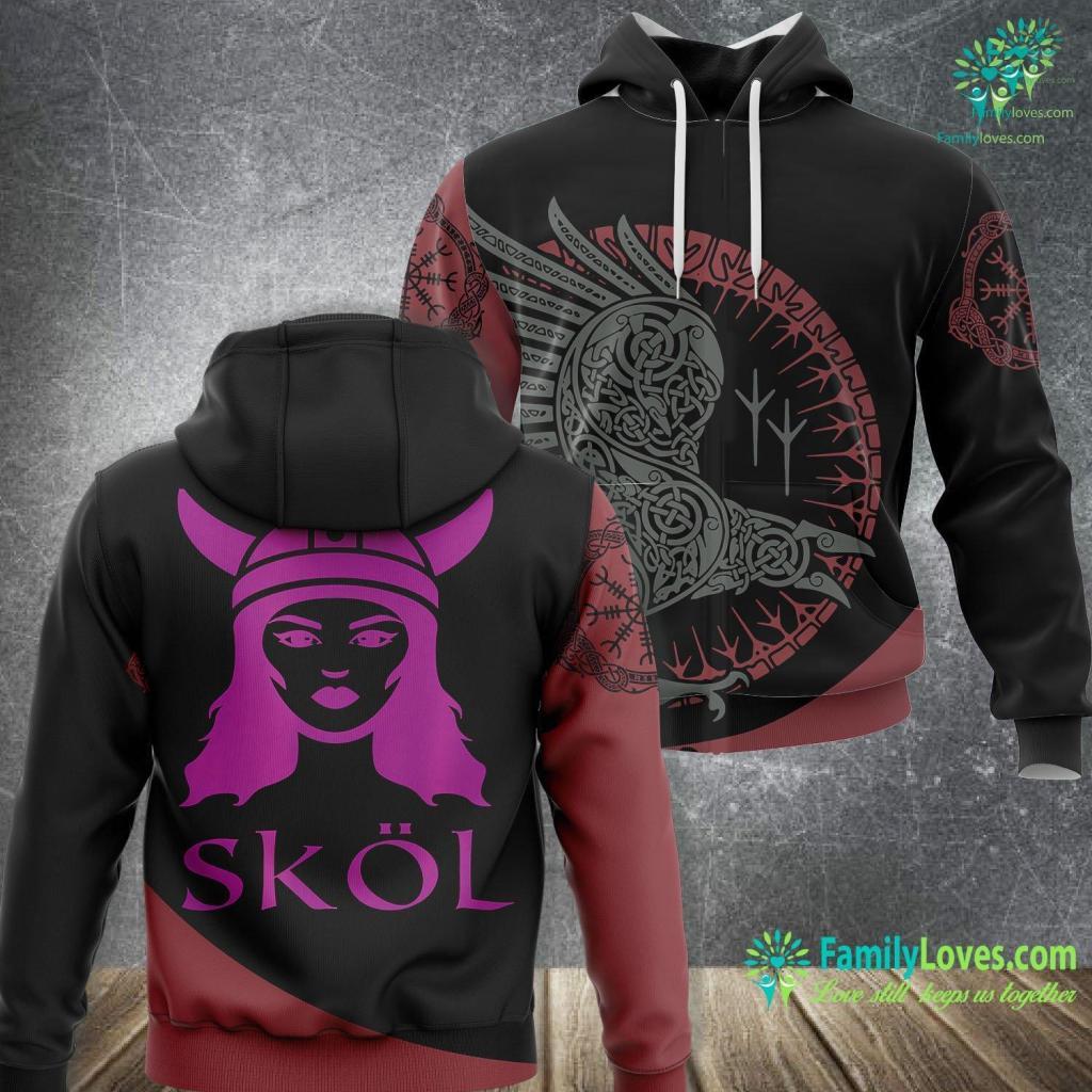 Real Viking Symbols Women S Skol Viking Fans Helmet Scandinavian Warrior Viking Unisex Hoodie All Over Print Familyloves.com