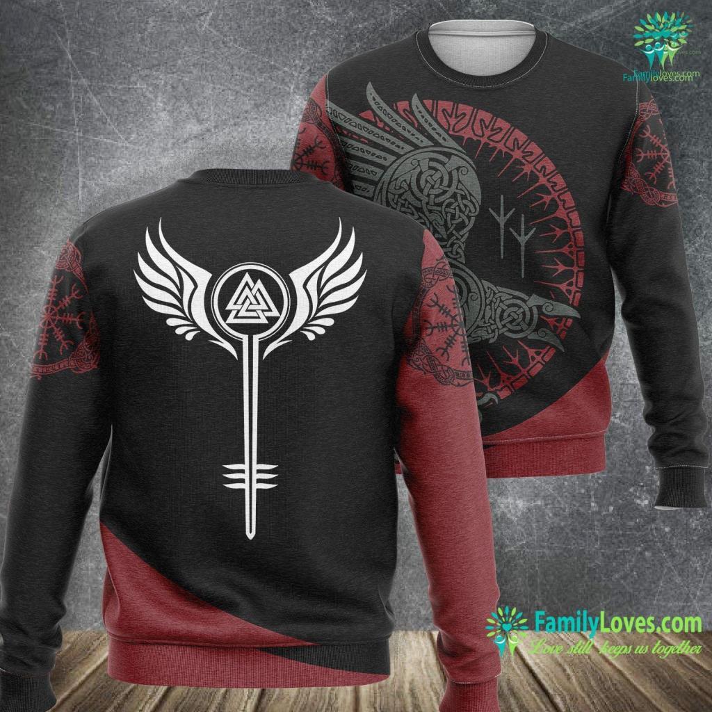 Runes Names Valkyrie Symbol Valknut Odin Wings Vikings Asgard Valhalla Viking Sweatshirt All Over Print Familyloves.com