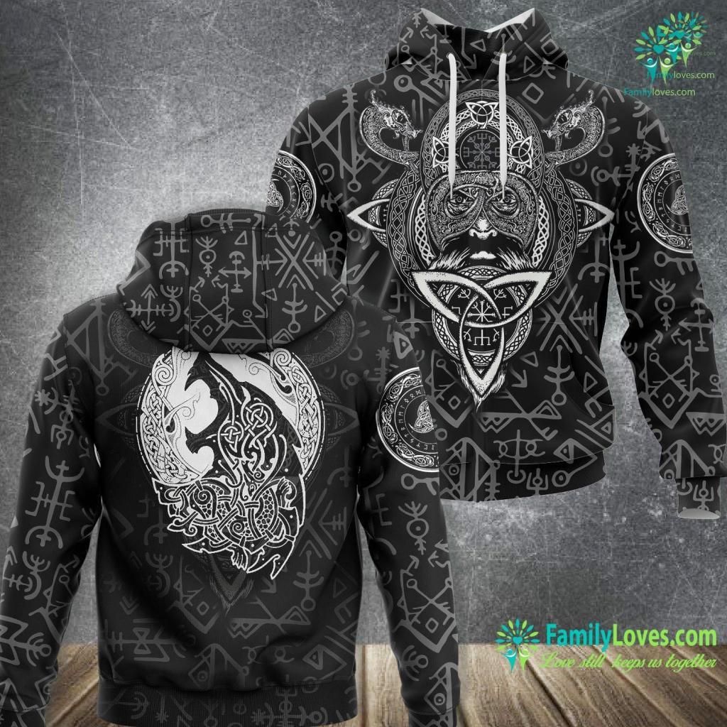 Ship Decor Fenrir Ragnarok Wolf Of Odin Norse Runes Vikings Norsemen Viking Unisex Hoodie All Over Print Familyloves.com