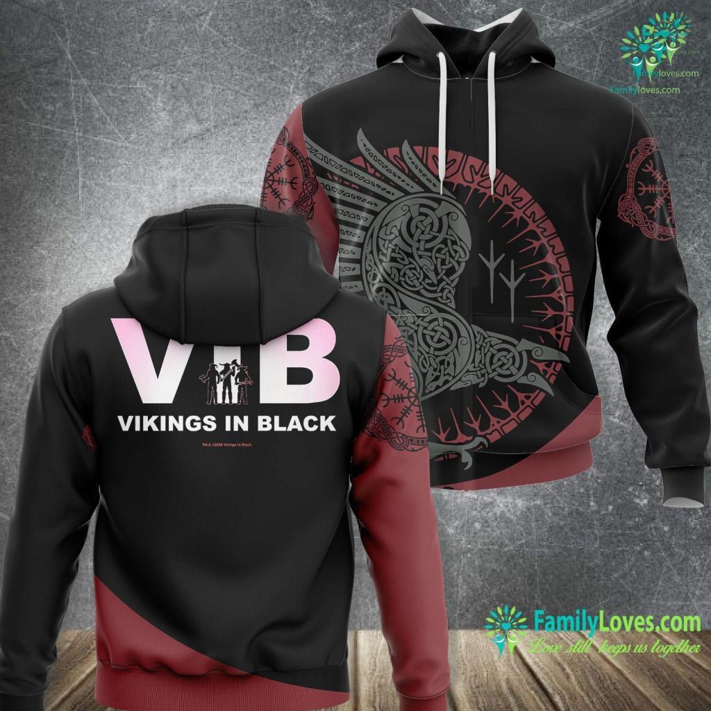 Thor Hammer Keychain Vikings In Black Official Logo Premium Viking Unisex Hoodie All Over Print Familyloves.com