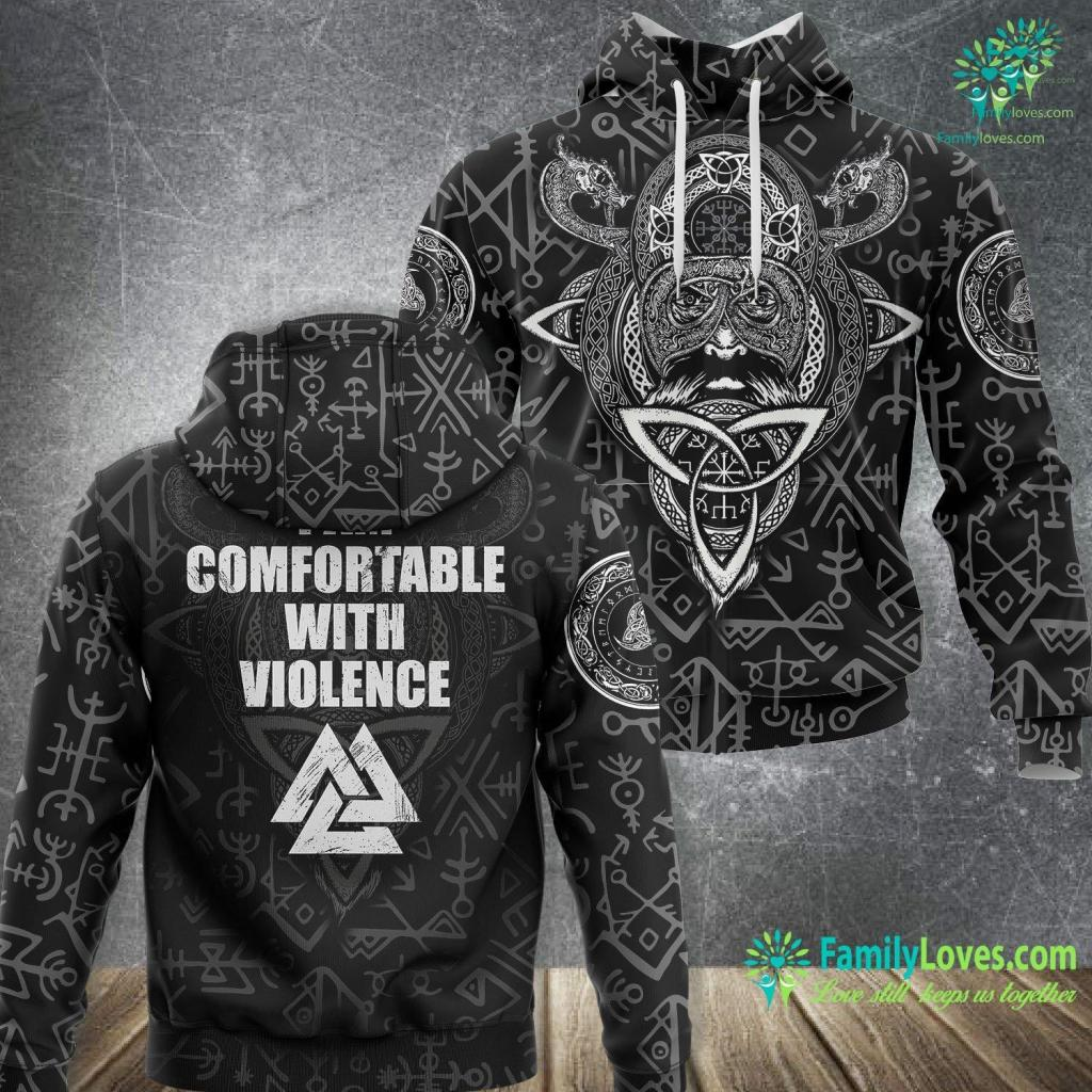 Traditional Norwegian Clothing I Am Comfortable With Violence Viking For Men Viking Unisex Hoodie All Over Print Familyloves.com