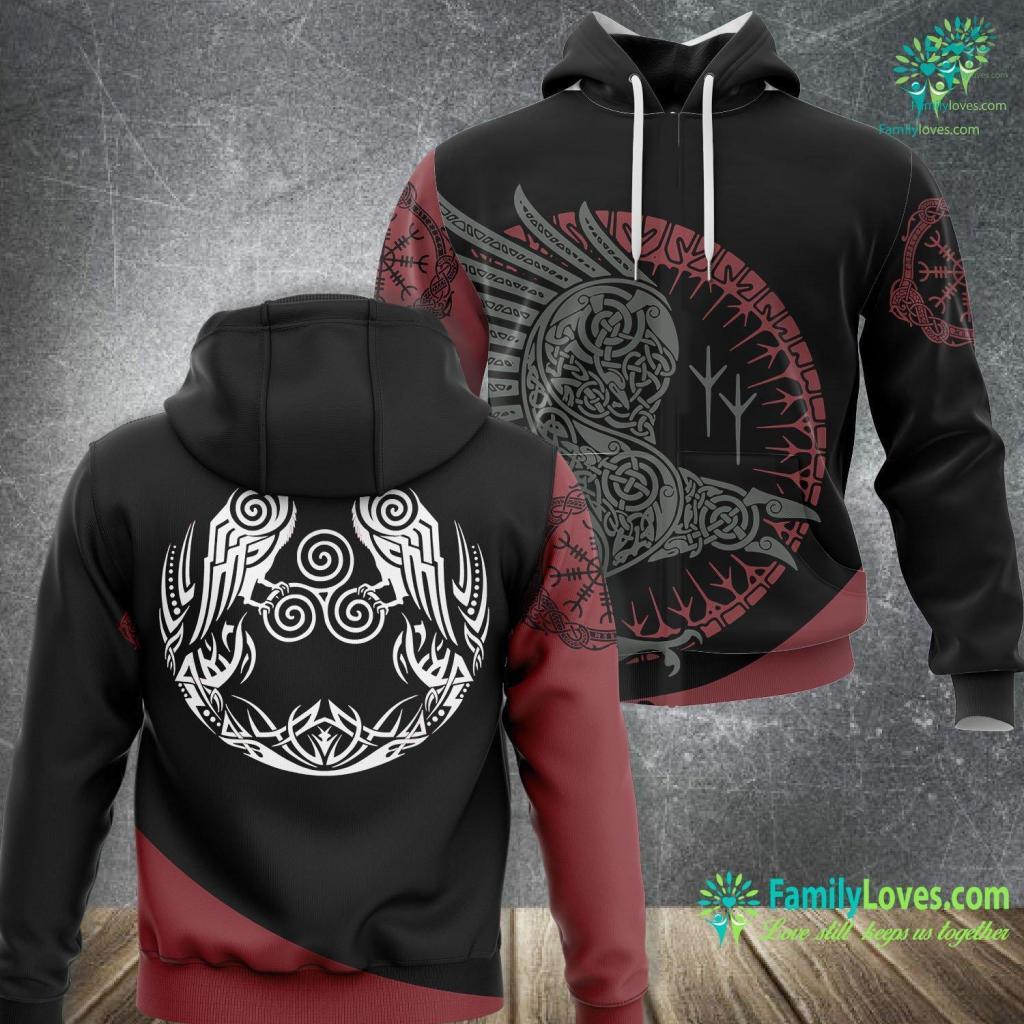 Vegvisir Meaning Viking Celtic Huginn Amp Muninn Odin S Ravens Viking Viking Unisex Hoodie All Over Print Familyloves.com