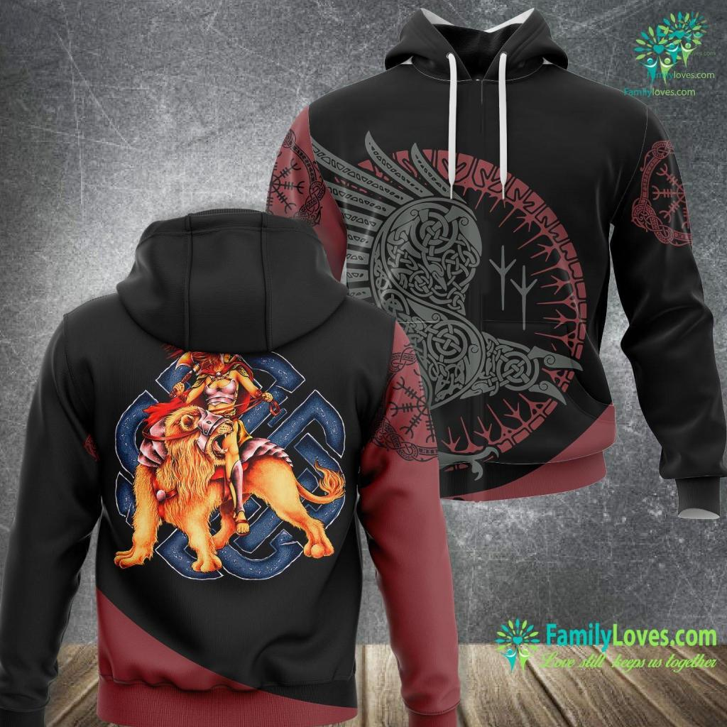 Viking Beard Oil Women Viking Warrior Queen On Lion Norse Viking Premium Viking Unisex Hoodie All Over Print Familyloves.com