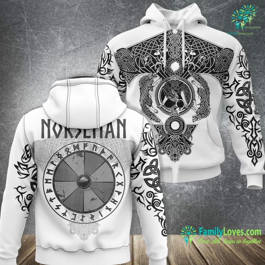 Viking Com Norseman Viking Shield With Runes Viking Unisex Hoodie All Over Print Familyloves.com