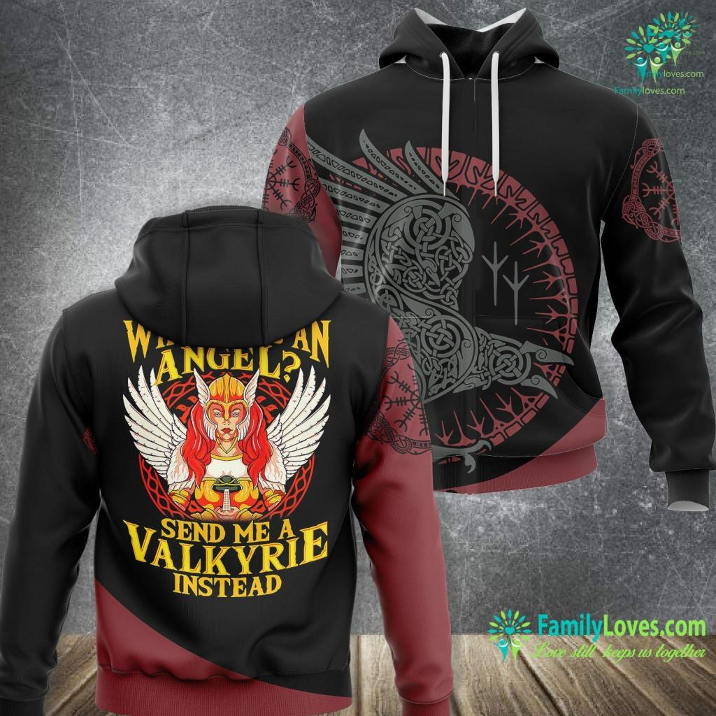 Viking Cup Viking Valkyrie Angel With Wings And Sword Odin Valhalla Viking Unisex Hoodie All Over Print Familyloves.com