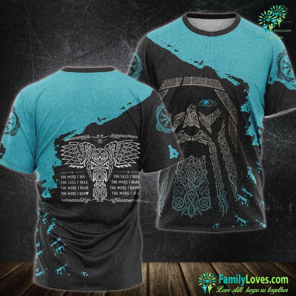 Viking Longboat Celtic Owl Viking Wisdom Norse Tattoo Art Viking Unisex Tshirt All Over Print Familyloves.com