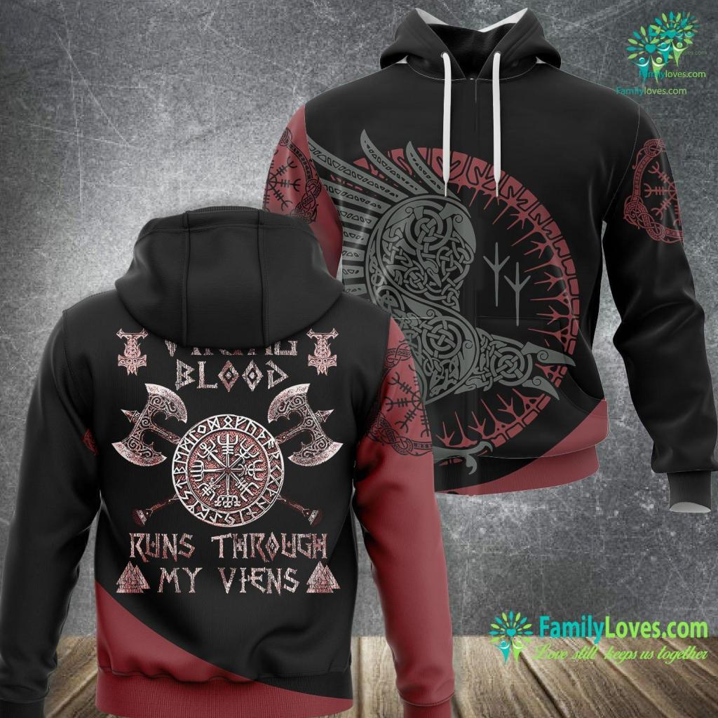 Viking Rune Symbols Viking Blood Runs Through My Viens Vikings Myths Tee Viking Unisex Hoodie All Over Print Familyloves.com