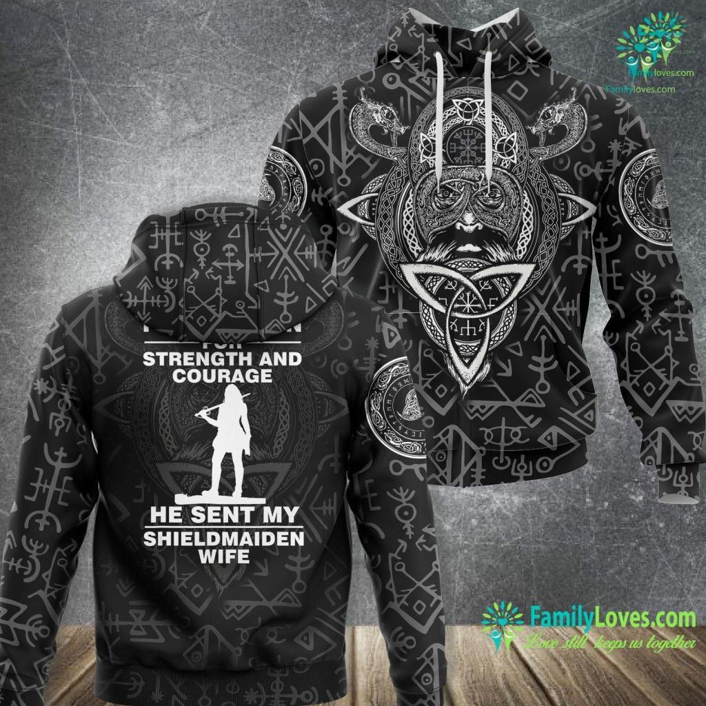 Viking Ski Shop I Asked Odin Sent My Shieldmaiden Wife Warrior Viking Unisex Hoodie All Over Print Familyloves.com