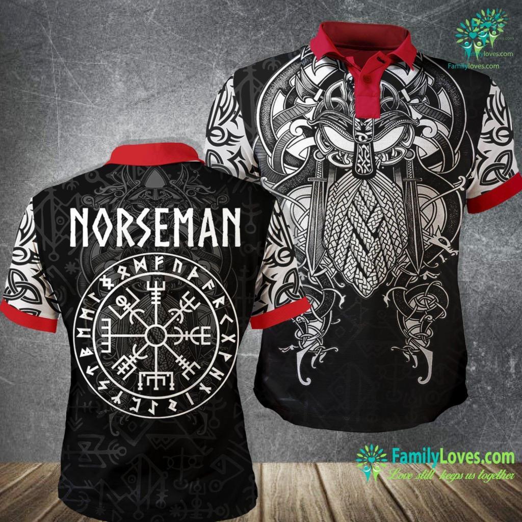 Vikings Theme Song Norseman Vegvisir With Runes Viking Viking Polo Shirt All Over Print Familyloves.com