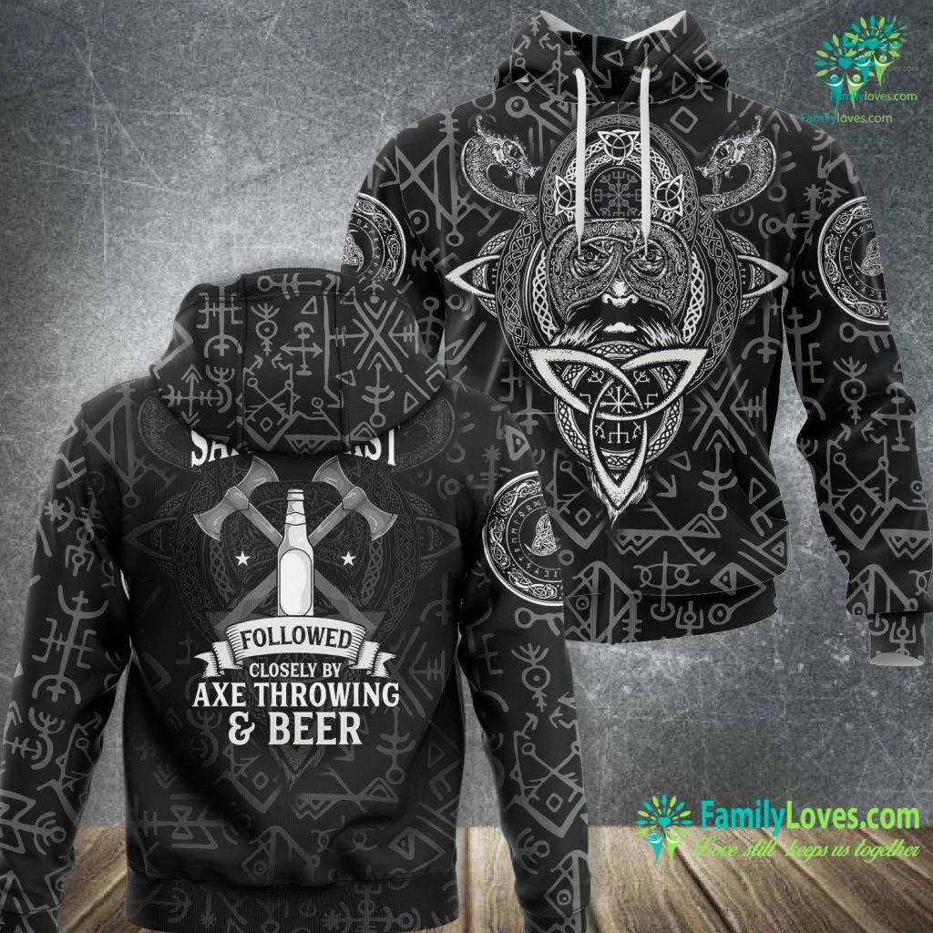 What Country Were The Vikings From Funny Safety First Axe Throwing And Beer Retro Viking Viking Unisex Hoodie All Over Print Familyloves.com