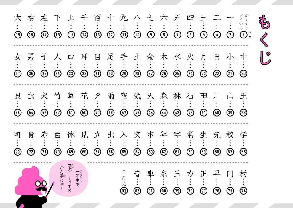 日本一楽しい漢字ドリル うんこかん字ドリル もくじ