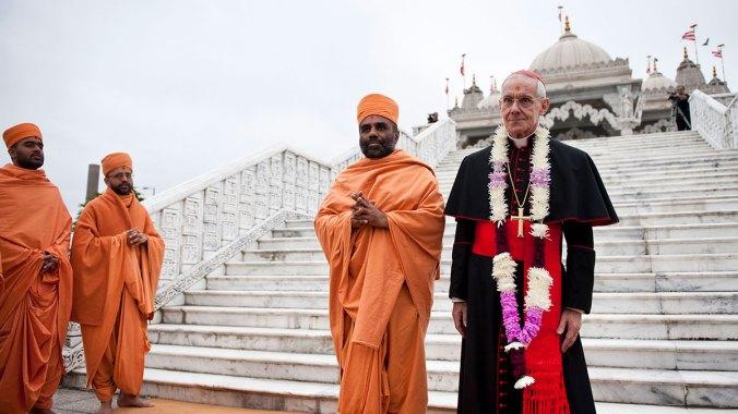 Cardinal Tauran visits the BAPS Shri Swaminarayan Hindu temple in Neasden