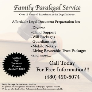 Family Paralegal Service  Preparing Legal Documents for Arizona Residents Since 2001