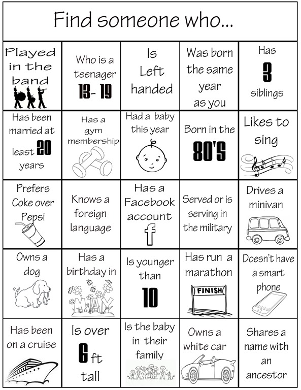 Ice breaker games family reunion helper for Ice breaker bingo template