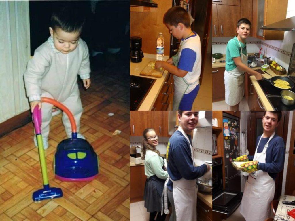 Pablo y Claudia haciendo tareas del hogar, Dia Internacional de la Mujer 2019, Familysol