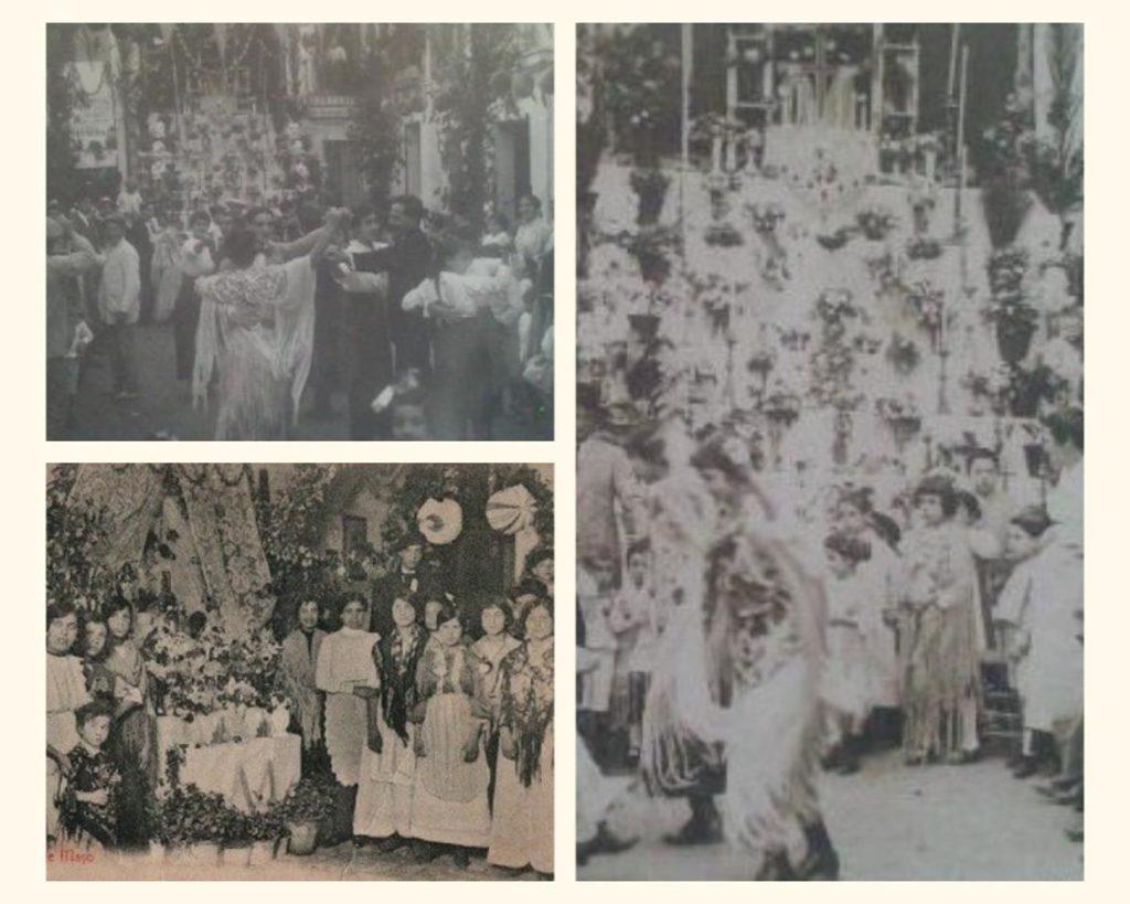 Collage de fotos antiguas de las celebraciones de las Cruces de Mayo en Córdoba