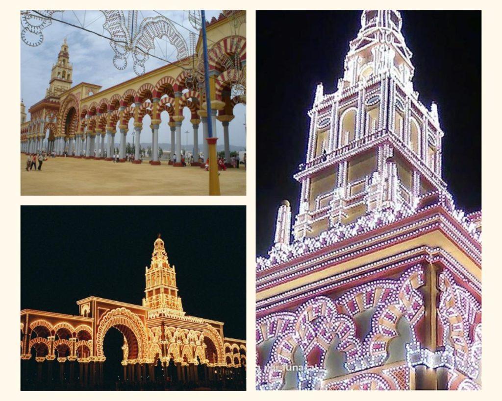 La portada de la Feria de Córdoba en su versión diurna y nocturna