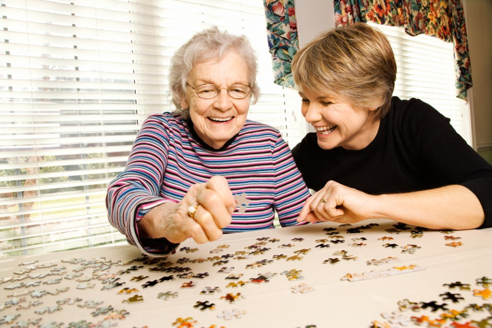 Elderly Parent with adult daughter eldercare long term care