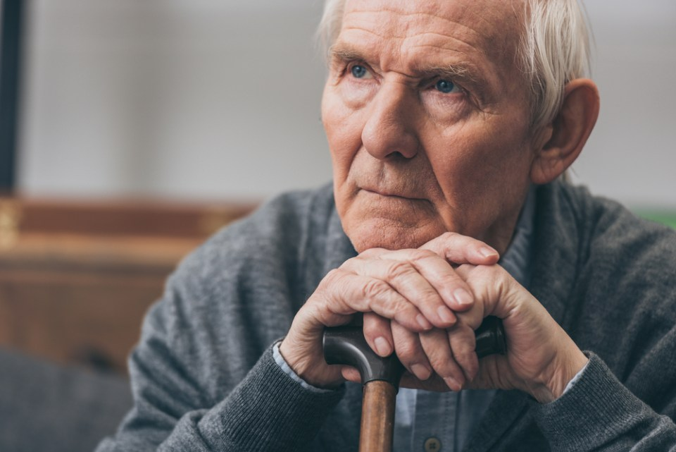 elderly man with SAD