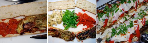 Roasted Eggplant Parmesan Sandwich Detail