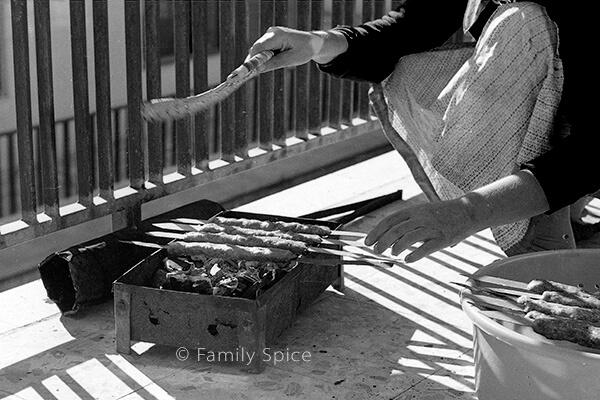 My grandmother making Persian Ground Beef Kabob (kabob-e koobideh) by FamilySpice.com