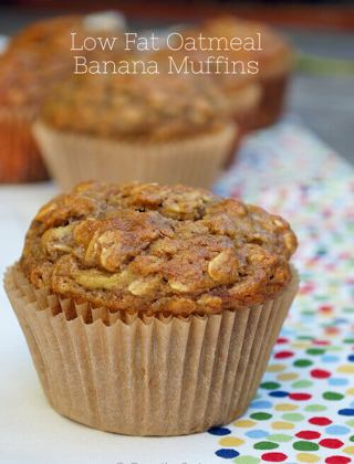 Low Fat Oatmeal Banana Muffins