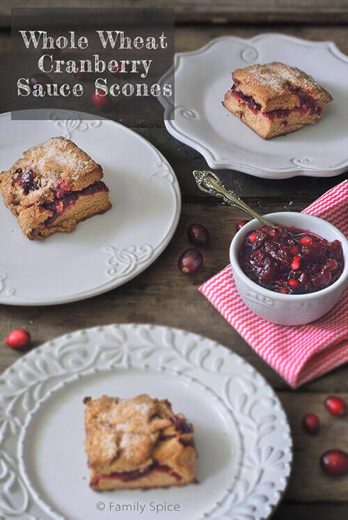 Whole Wheat Leftover Cranberry Sauce Scones by FamilySpice.com